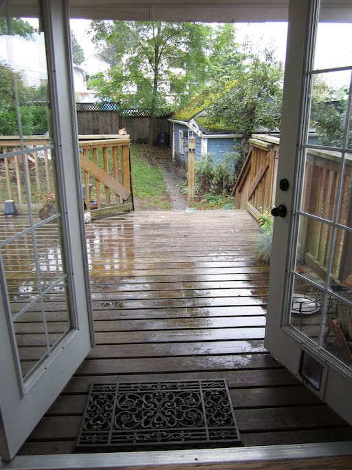 French doors opening to a spacious deck