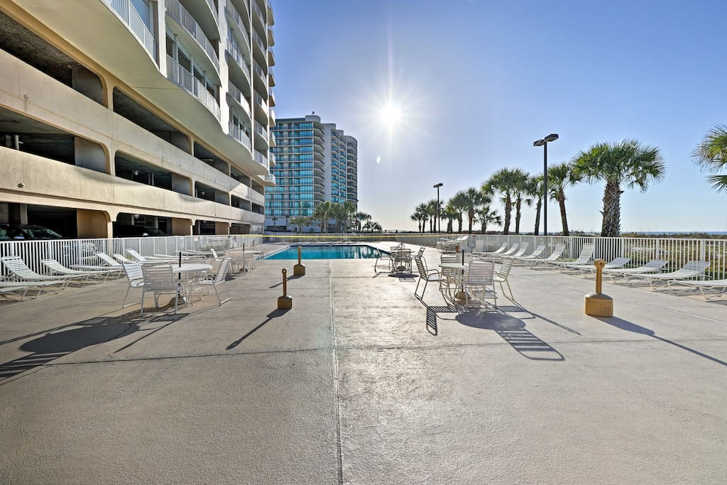 The beachfront complex features pools, docks, a rec room, and more.