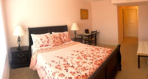 Master bedroom in a new 3-bedroom condo