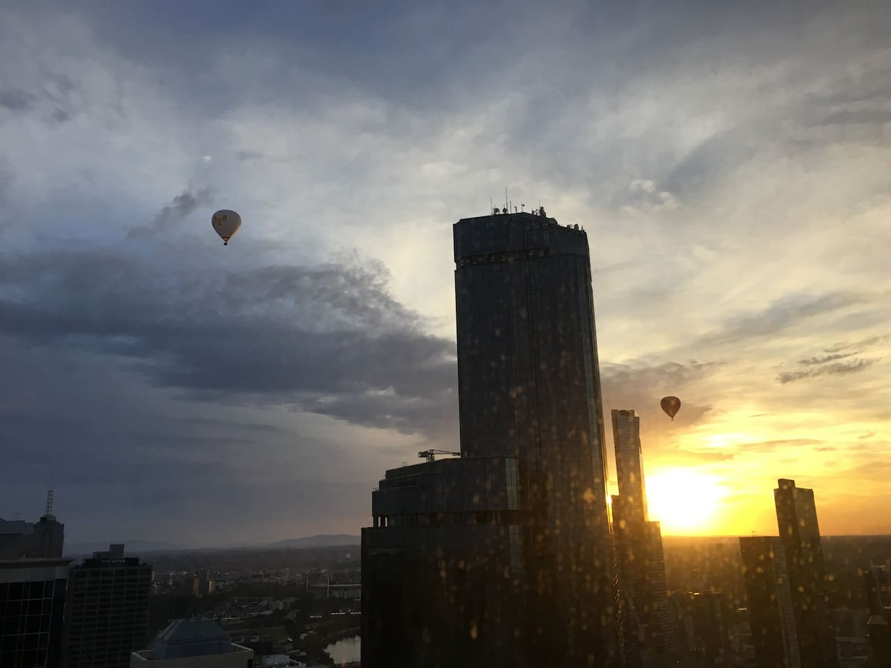 Watching hot air balloons from living room.