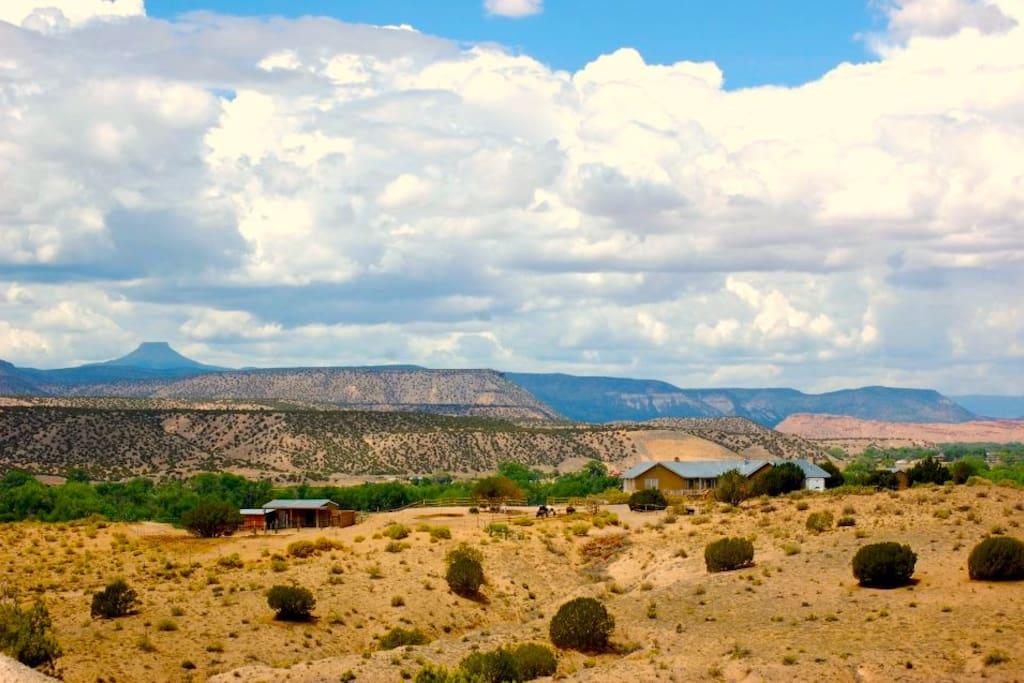 Casita de Chuparosa on far right. Barns on left