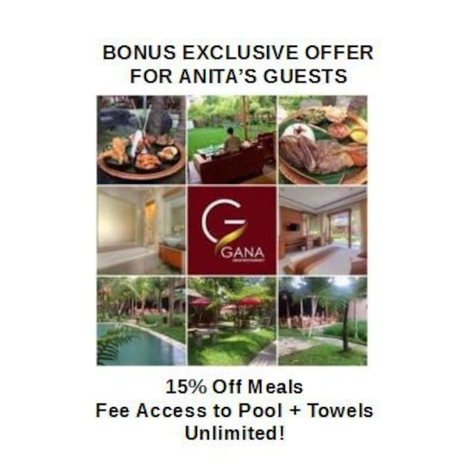 As special bonus, guests are provided with 15% off all meals at Gana Resort in the centre of Ubud with free access to pool and free towel service.  Great for combining with an after Yoga Barn.