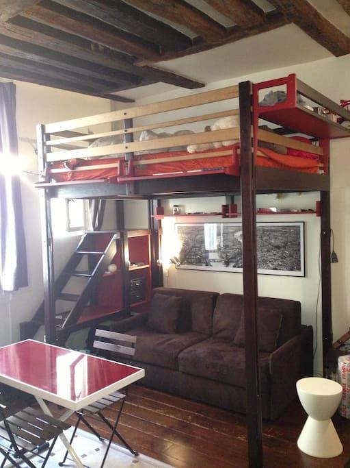 canapé-lit + mezzanine