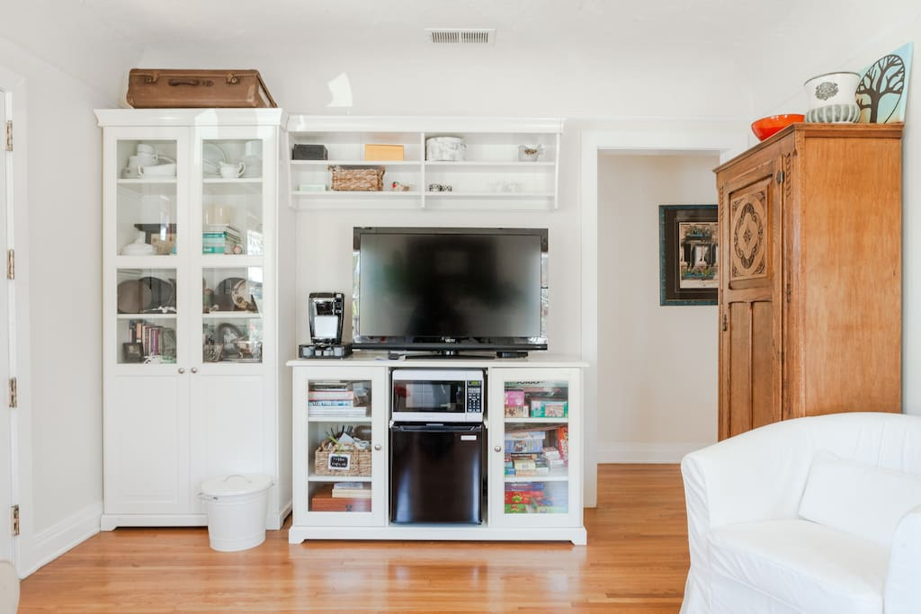 Fridge, microwave, and coffee maker.  You are welcome to use the games, puzzles, and cabinets.