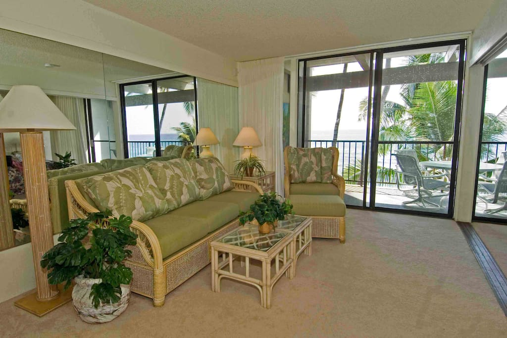 Gorgeous view with the 8 foot floor to ceiling windows on the entire side of the condo.  Sliding doors to open to hear the soothing sounds of the ocean.