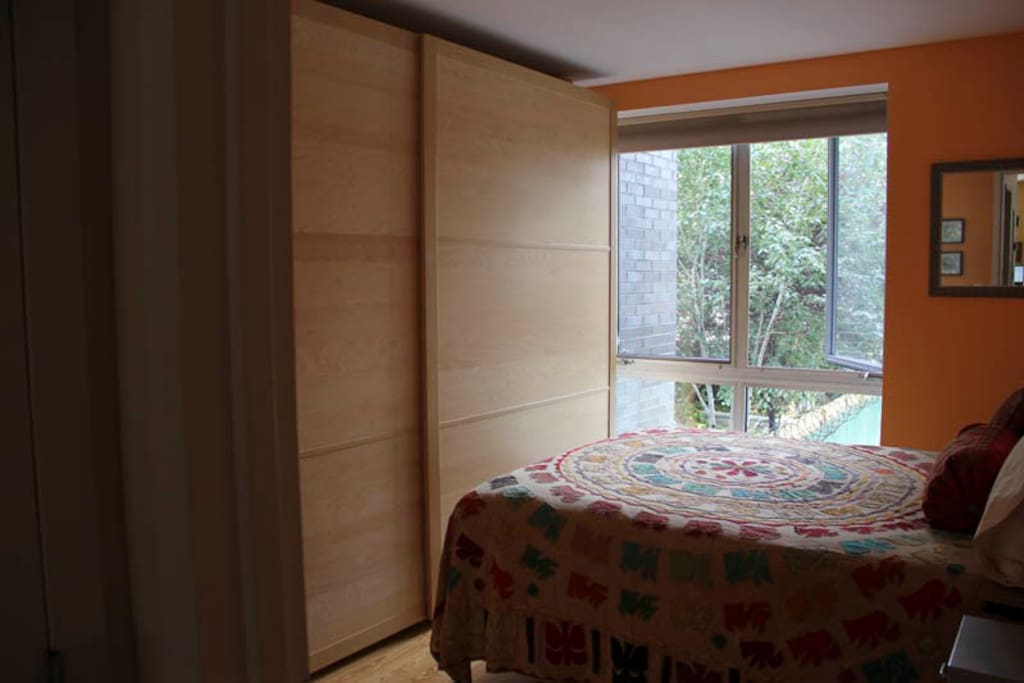 Bedroom with ample storage, and large floor to ceiling window for great, natural light