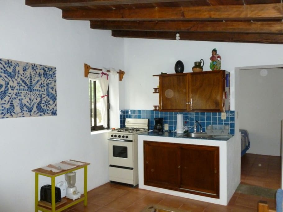 Kitchen with different kind of appliances.