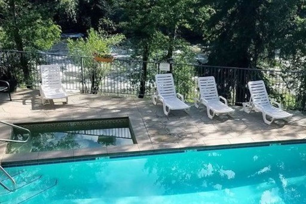 Hot tub is open all year round, and it's right below our condominium