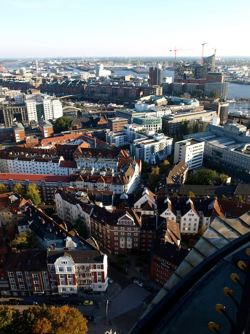 Enjoy the view from St. Michaelis Tower on our house and the rest of Hamburg.