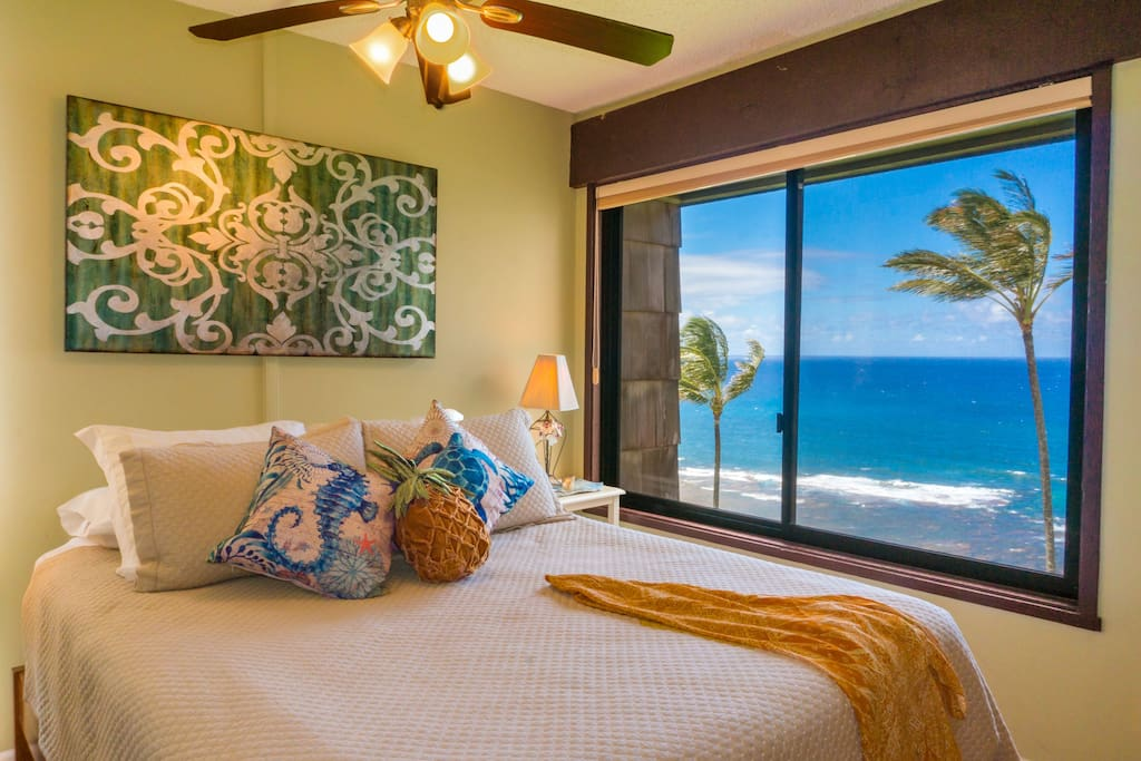 Oceanfront master bedroom at Sealodge C7.  Our Sealodge condos all offer awesome views.