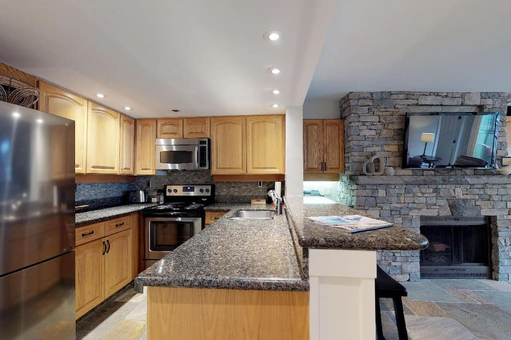 Create a delicious snack or grab a cold drink in the updated and fully equipped kitchen!