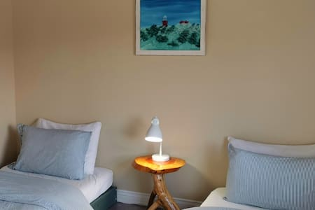 Locally made furniture and art in a spacious room with 2 twin beds,