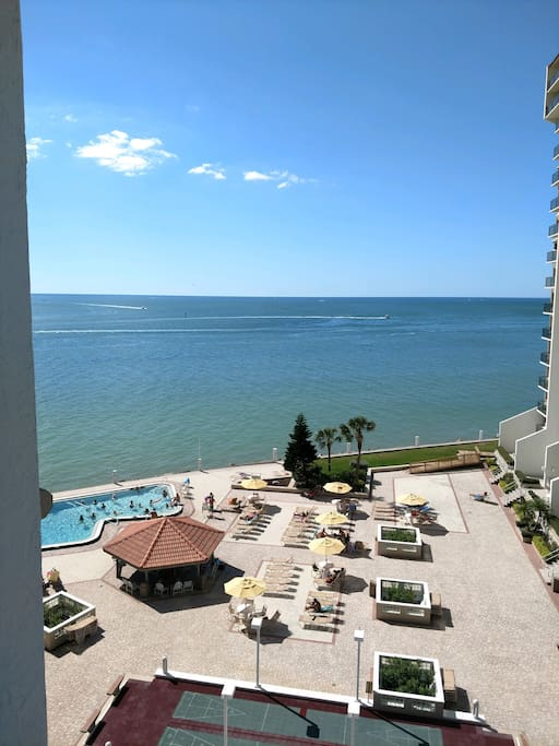 View from our 801 South unit balcony..Pool is PERFECT temp, deck is wide and expansive and view is well, as good as it gets!