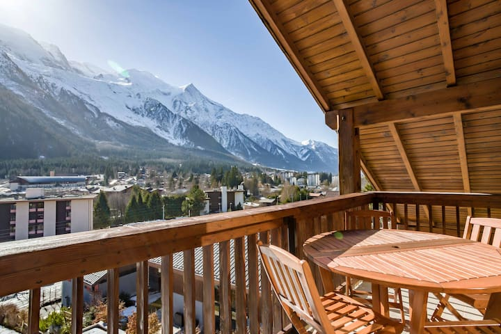 Enjoy balcony views of Mont Blanc