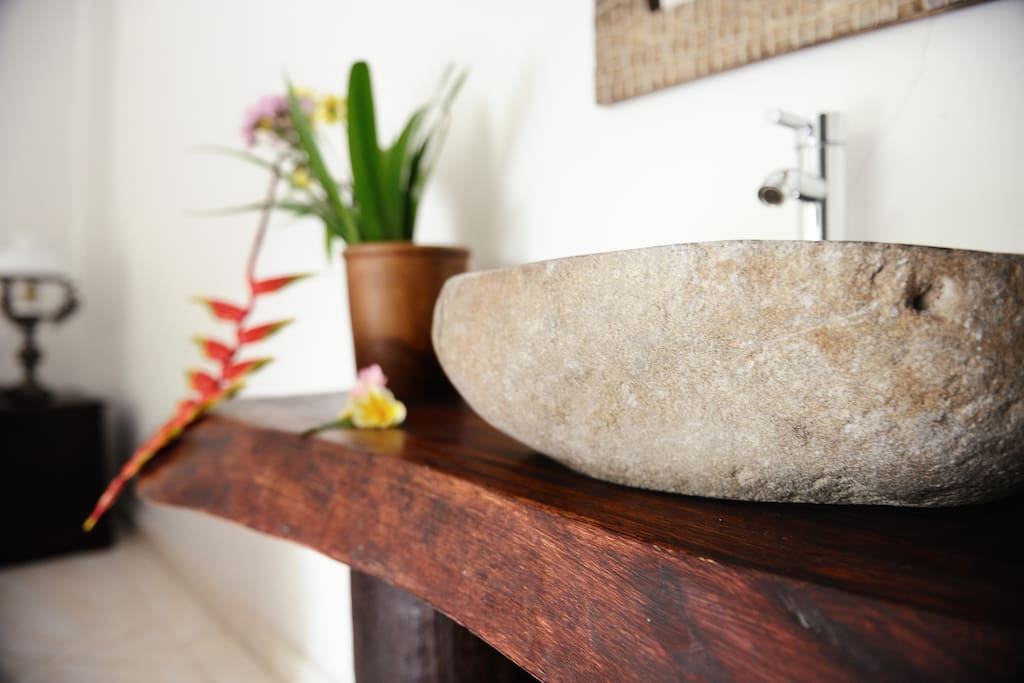 We use beautifully carved stones for our bathroom sinks