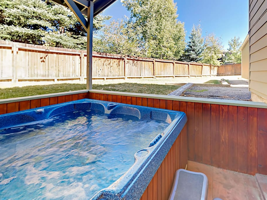 Access the private hot tub from the ground floor living room.