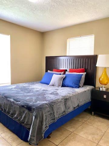 King bed. Tastefully updated.