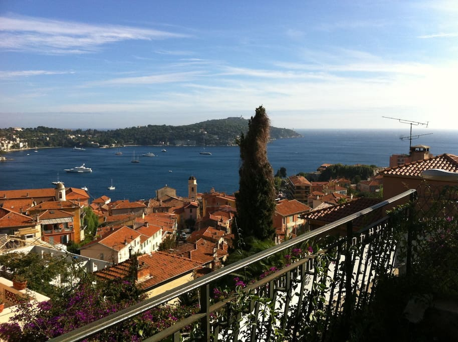 The view from the terrace is overlooking the sea and Cap Ferrat.