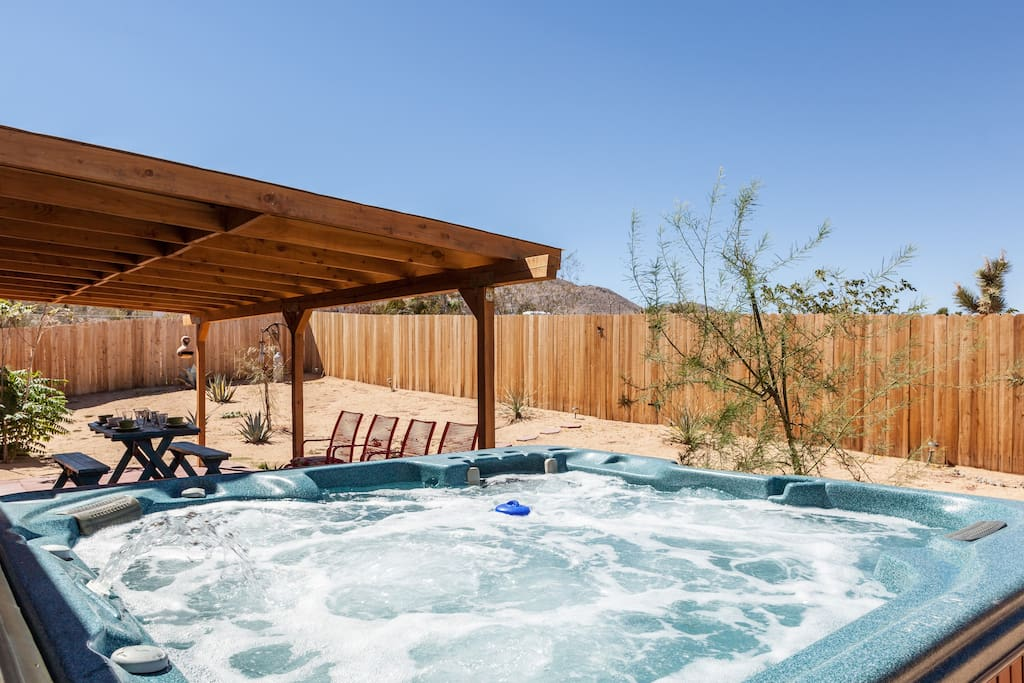 Hot tub by day or night.