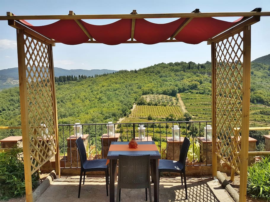 The dining area in the Garden, with the best view of Chianti.