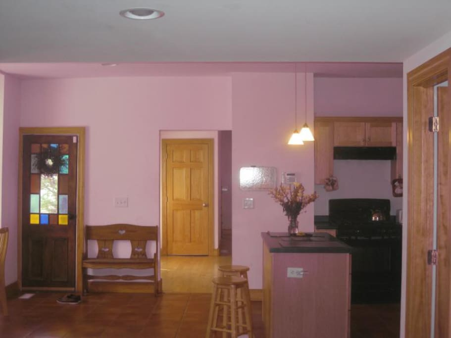 View of Kitchen and formal dining room from French Doors in 2nd Living Room