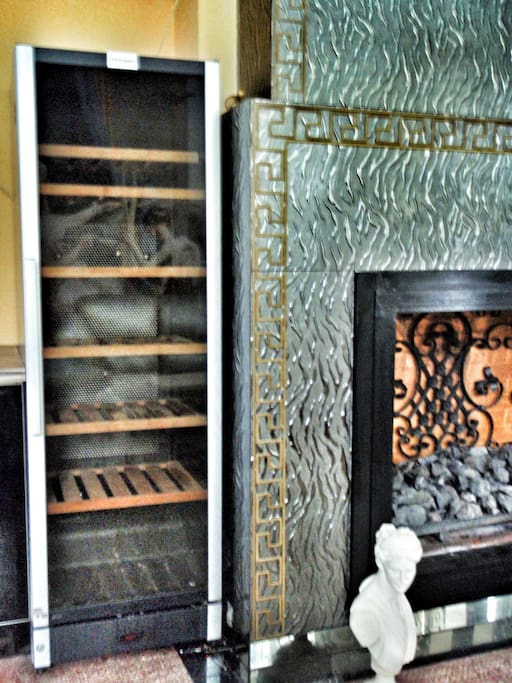 Fireplace and wine fridge