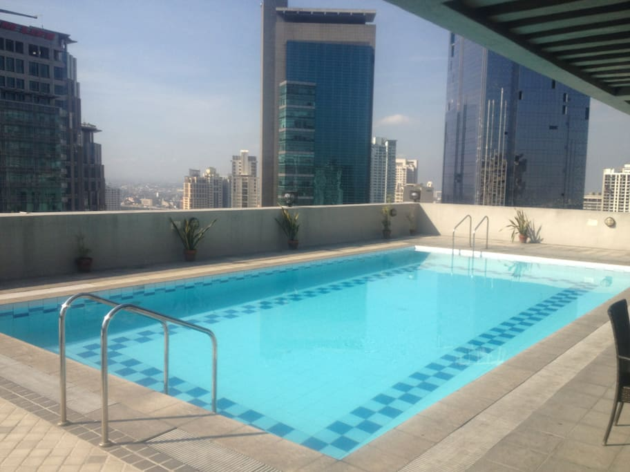 Rooftop pool. One of the great things about this pool is because its on the roof, you get sun all day long. This is one of only a few rooftop pools in Salcedo with lots of sun.