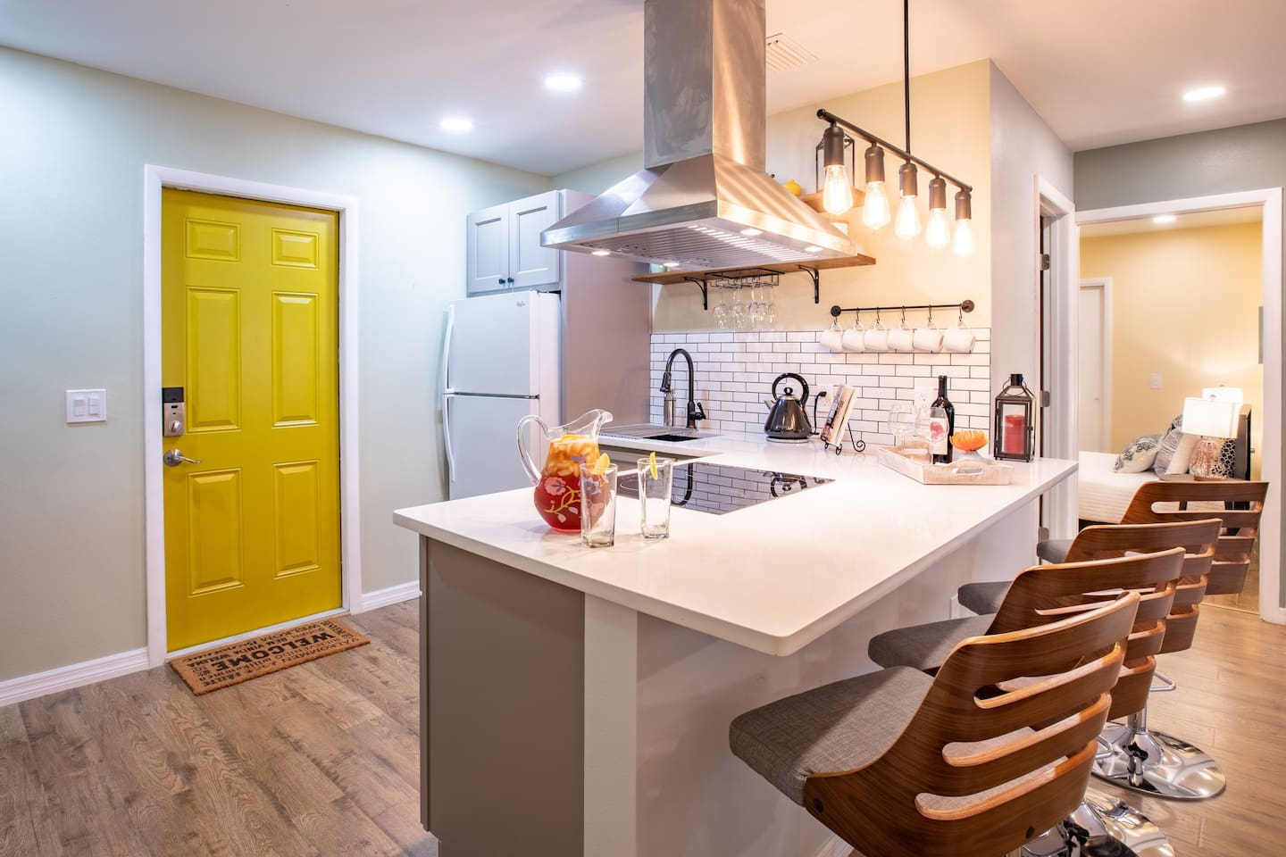 Brand new farmhouse-inspired kitchen to enjoy a delicious meal and entertain guests