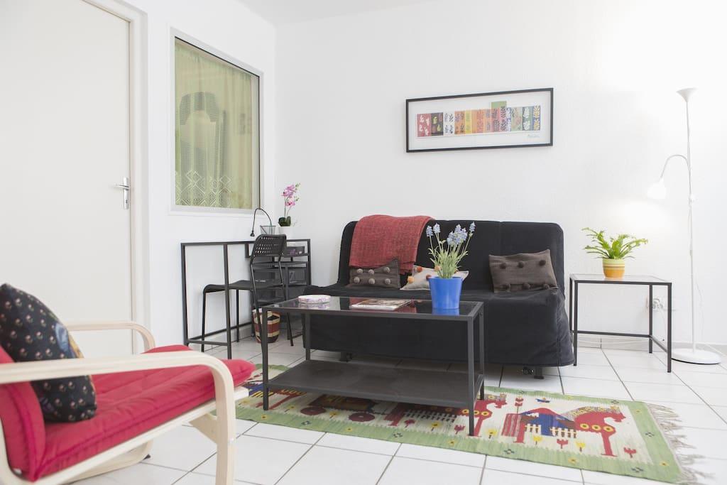 Salon avec un Canapé-lit 140x200
