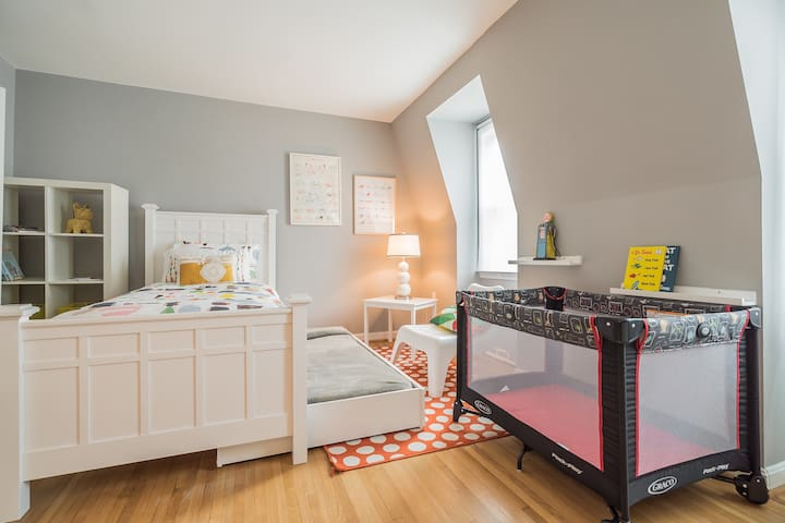 We provide a twin size bed, trundled bed and a pack n play for babies.