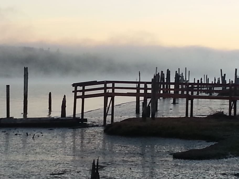 Foggy sunrise over the river... old pilings are from shipbuilding days.