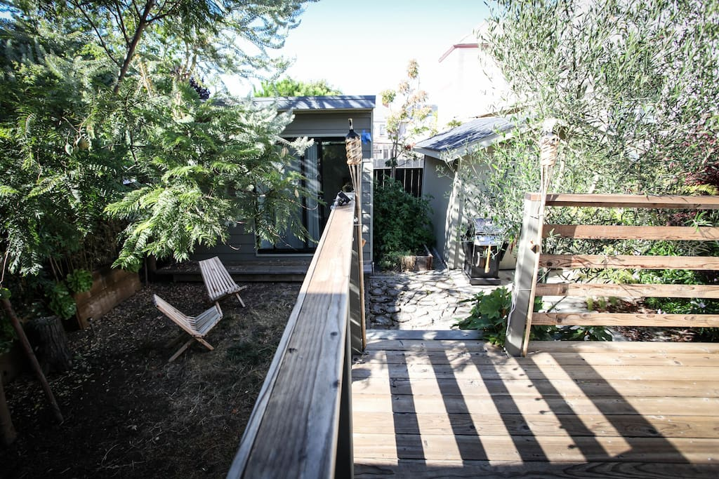 House, deck and yard from the studio