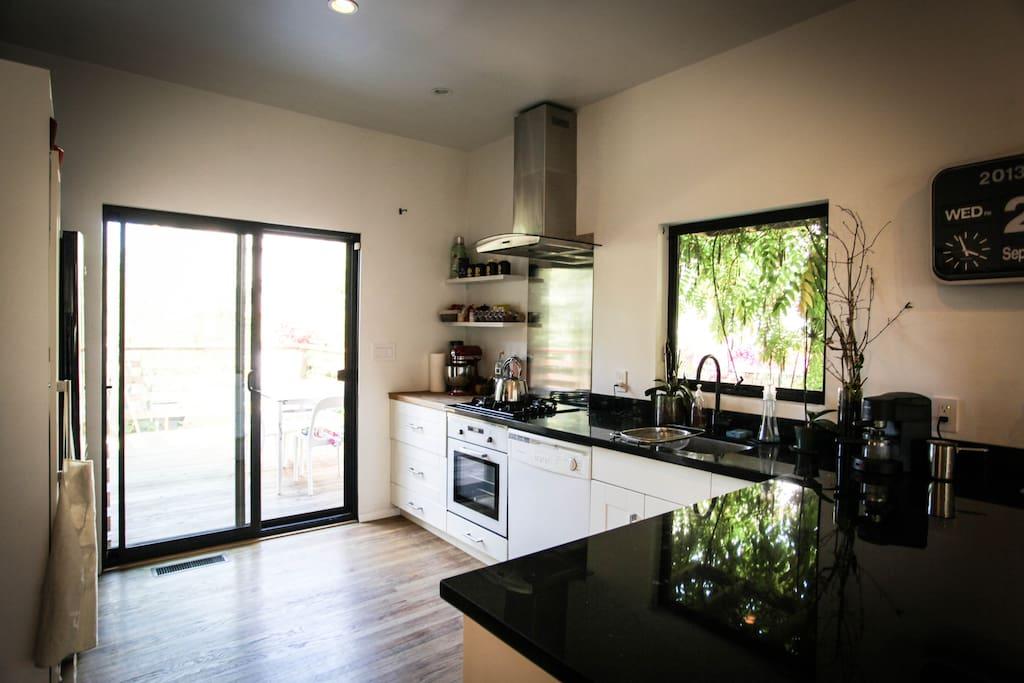 Kitchen with door to the deck