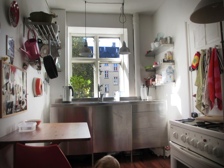 The Kitchen with a table for three
