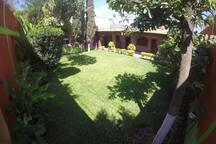 Jardín amplio para reunión, ejercicio al aire libre y mascotas