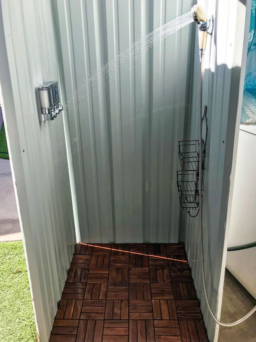 Hot water outdoor shower for the full glamping experience!