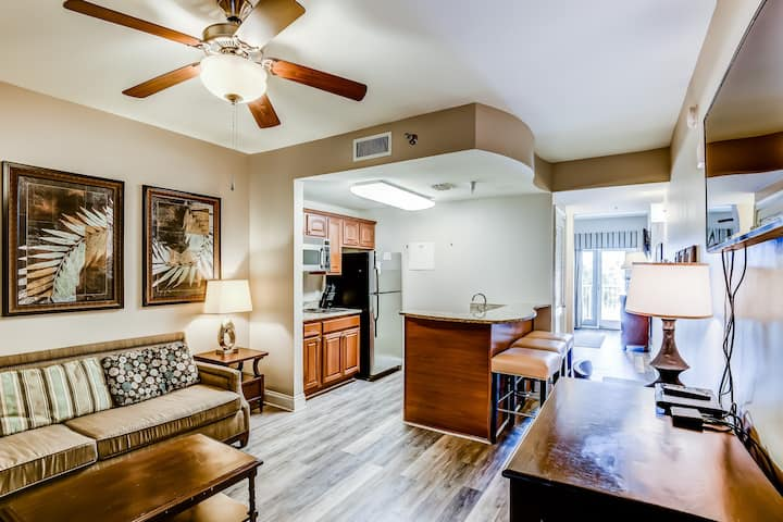 Sophisticated condo w/ lake views, available bicycle rentals, & shared pools!
