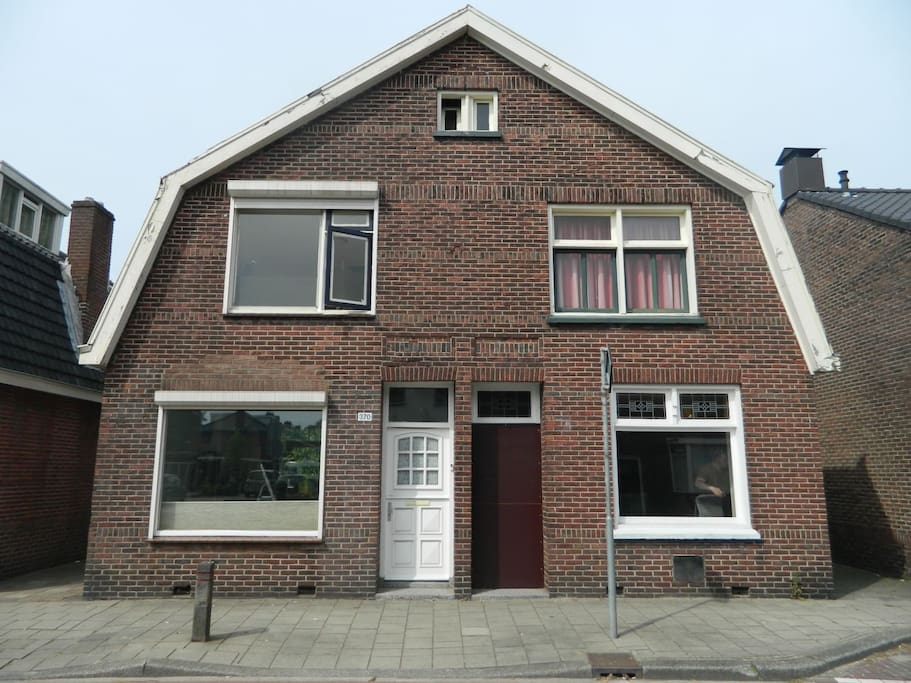 We have been living in the housde on the right for ten years, and recently bought the left side. We built our library on the ground floor,