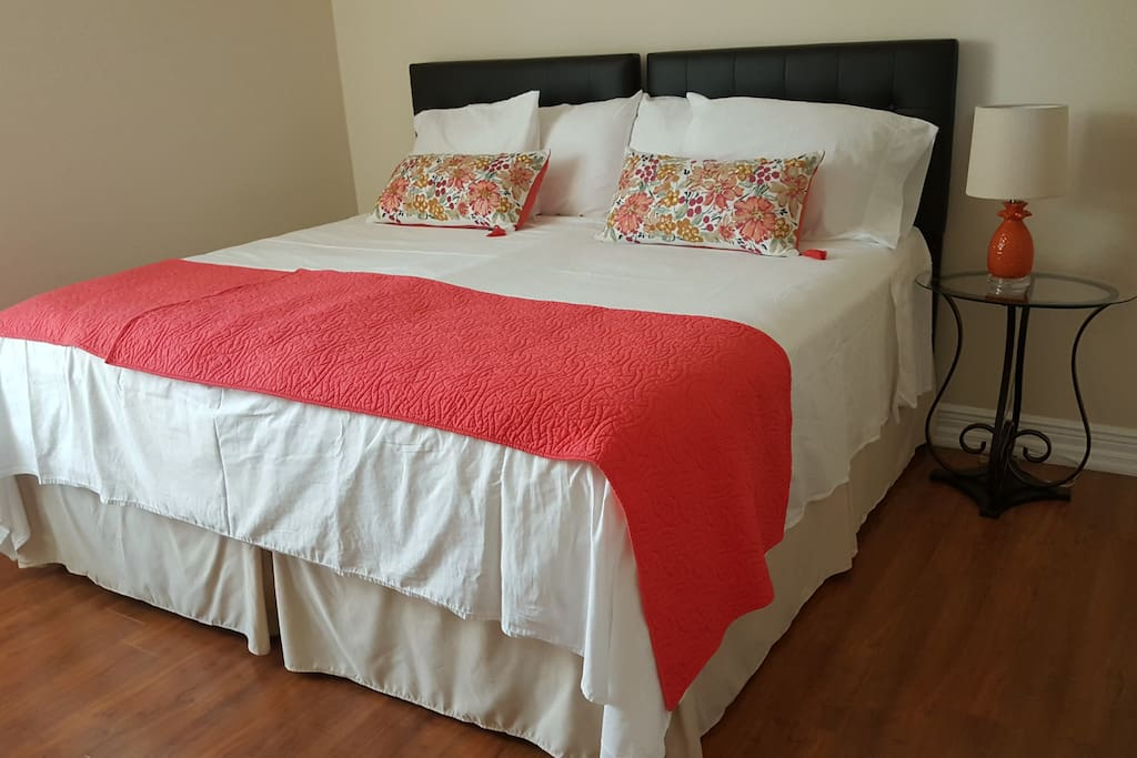 This photo shows twin beds converted to a king size bed.