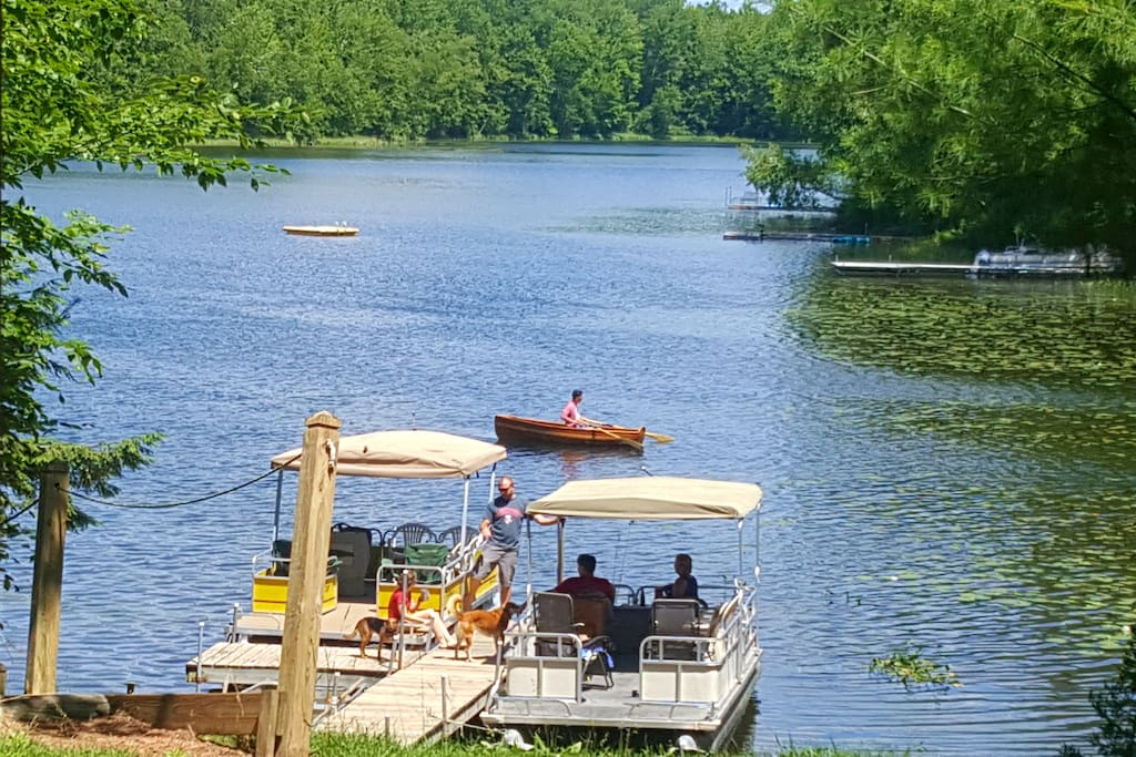 Pontooning on the lake. Bring yours to dock, rent ours, or just relax and enjoy. Seating is available on the dock.