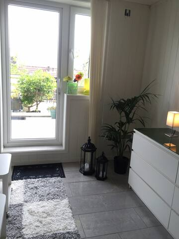 Living space and door to terrasse