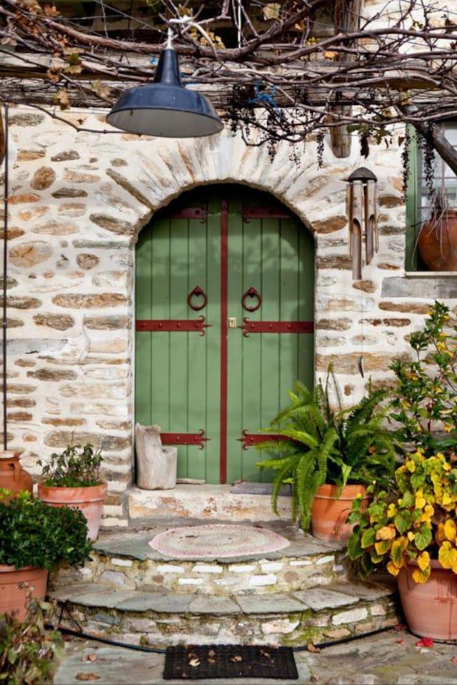 The door of the green studio