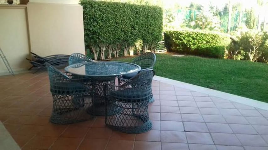Outside furniture on the terrace.