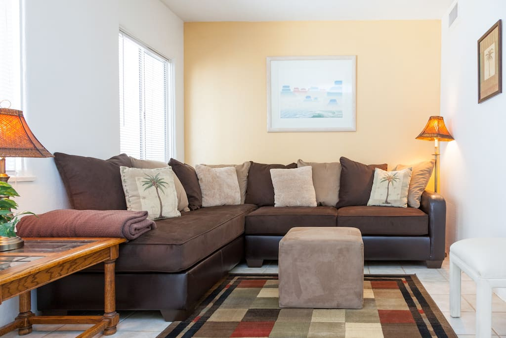 Very comfy sofa for relaxing, watching TV or just visiting. (New sofa)
