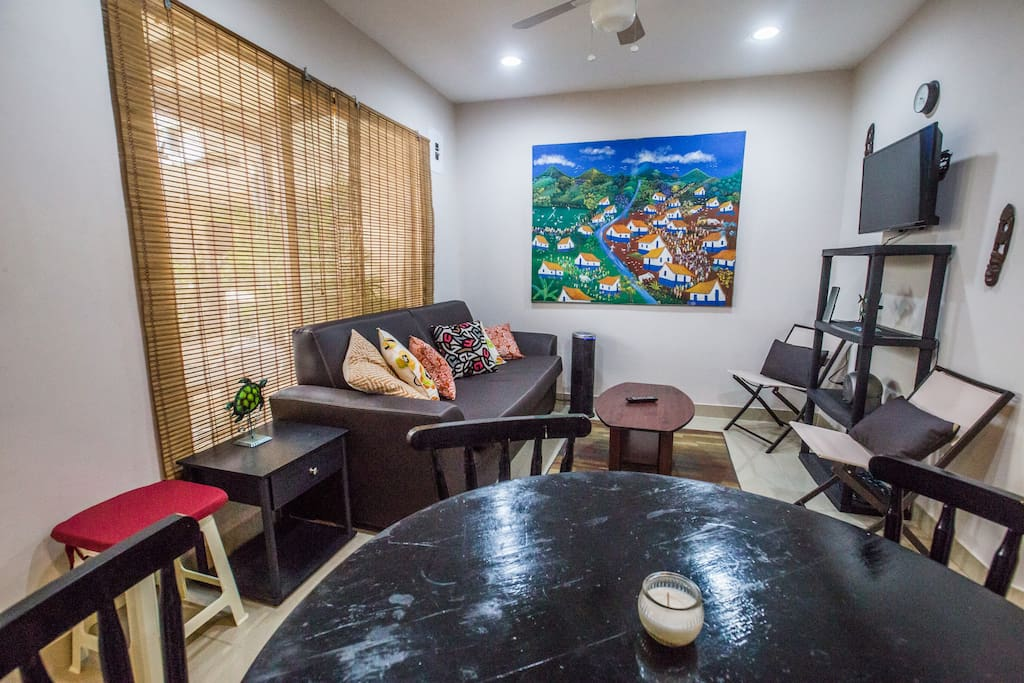 "Large, spacious common living area makes relaxing and dining a pleasure. Flat panel 32"" LED TV with Smart TV features includes a free Netflix account (watch movies for free), YouTube connection, Facebook, internet browser, etc. Fully wired with wifi at 4GB (enough to stream video or do a video call)."