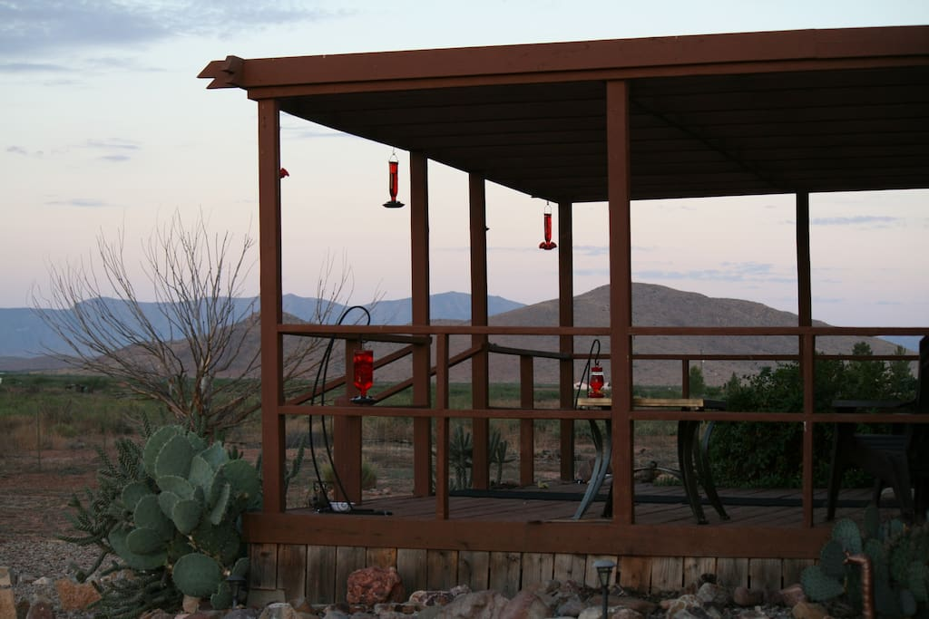 1 of 3 decks to enjoy at Ranch. 360 mountain views everywhere you look. Plus 2 National Parks! 3 Ghost close by to visit. Tombstone & Bisbee short drive from Ranch.
