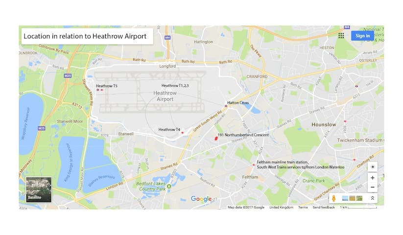 Location in relation to Heathrow airport