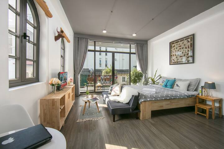 Large balcony and windows makes space brighten, windy.
