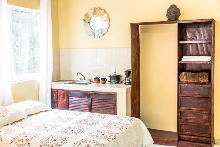 """Yala-Hau Suite Double Room @ Mayan Villas Hotel The 2 Yala-Hau Double Rooms are located on the 1st floor of the newly build """"Casa Grande"""". These rooms are the perfect places for couples or singles and provide intimate and quiet atmospheres."""