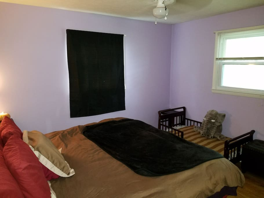 upstairs bedroom. king bed and toddler bed shown ( toddler bed is good for up to 65 lb and 3.5 ft tall) .. the toddler bed is also a good place to set your luggage if you don't have a toddler with you.